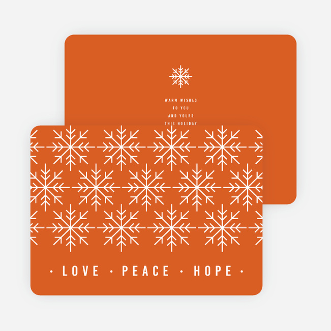 Snowflake Pattern Corporate Holiday Cards - Orange