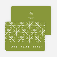 Snowflake Pattern Corporate Holiday Cards - Green