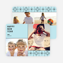 Stars Motif New Year Cards - Blue