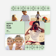 Stars Motif New Year Cards - Green