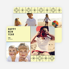 Stars Motif New Year Cards - Yellow