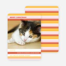 Colorful Stripes Holiday Photo Cards - Gold