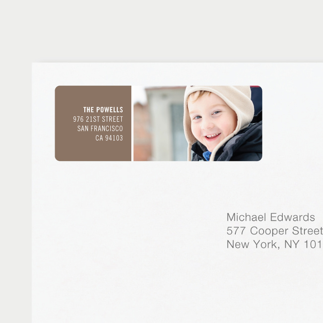 Horizontal Photo Right Personalized Address Labels - Gray