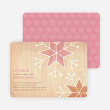 Let It Snow Snowflake Holiday Party Invitations - Tea Rose