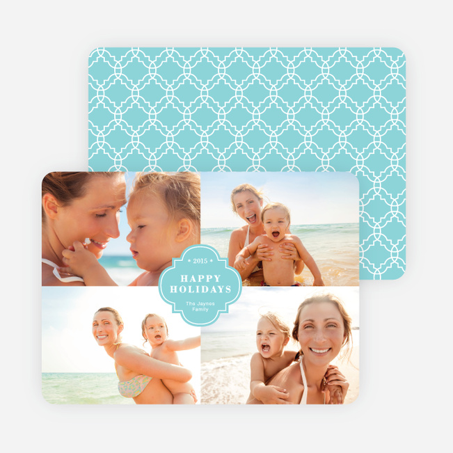 Family Crest Holiday Photo Cards - Blue