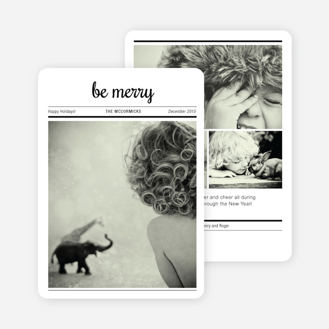 Newspaper: Be Merry Holiday Cards - Black