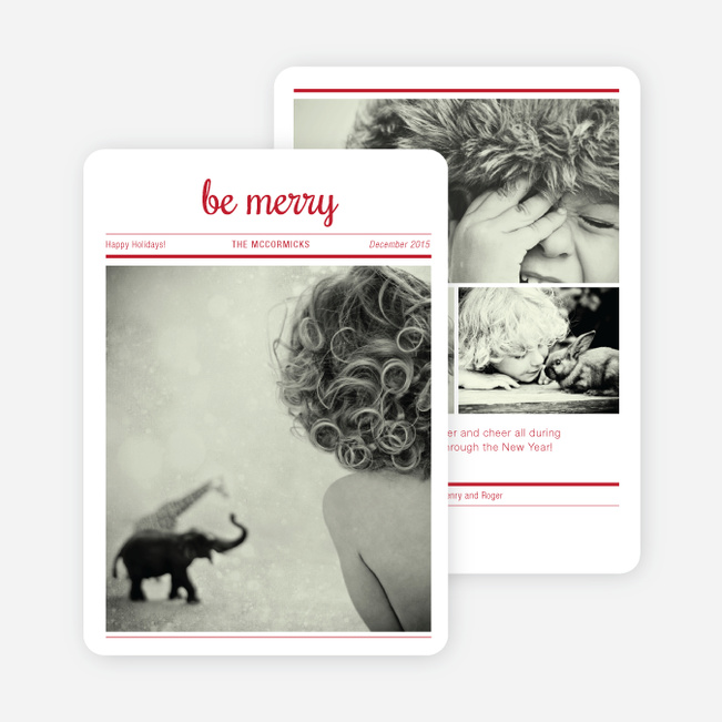 Newspaper: Be Merry Holiday Cards - Red