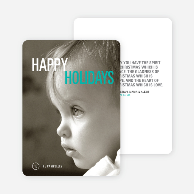 Simply Photo Christmas Card - Blue