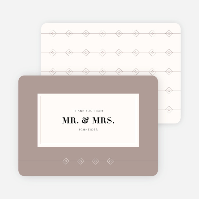 Rectangle Modernist Wedding Thank You Cards - Gray