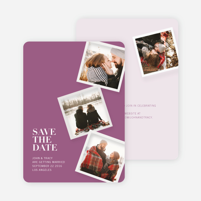 It's Raining Photos Save the Date Photo Cards - Purple