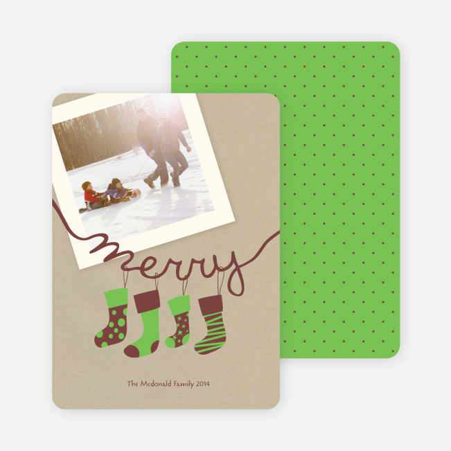 Merry Stockings Holiday Photo Cards - Basil