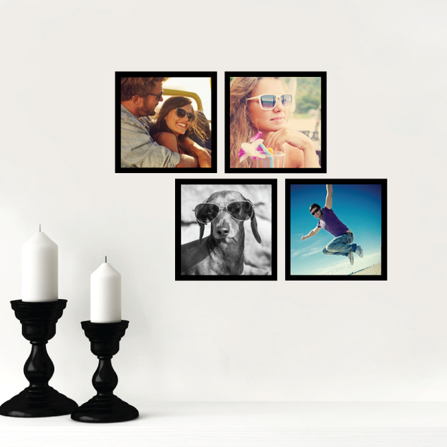 4 Custom Photo Wall Stickers - White