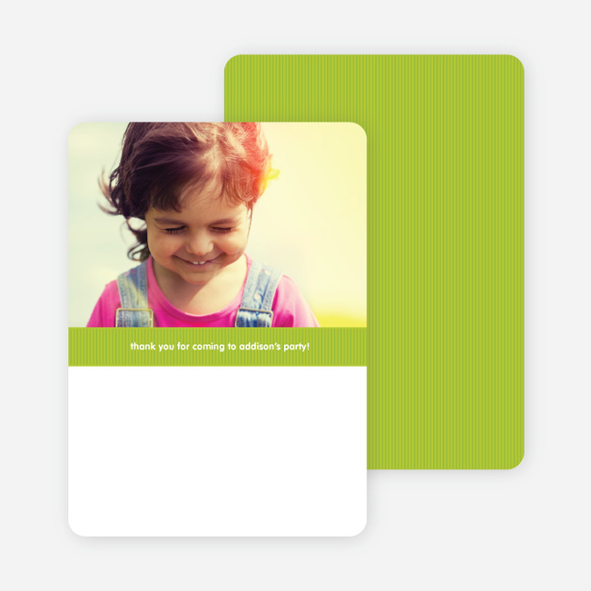 Modern Photo Thank You Card - Lime Green