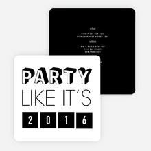 Retro New Year's Party Invitations - Black