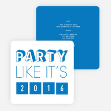 Retro New Year's Party Invitations - Blue