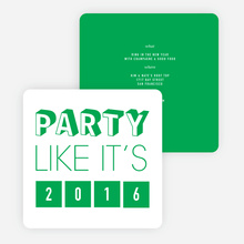 Retro New Year's Party Invitations - Green