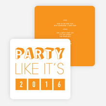 Retro New Year's Party Invitations - Orange