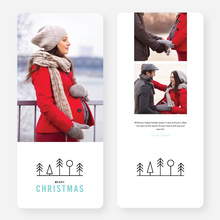 Simple Tree Icons Christmas Card - Blue