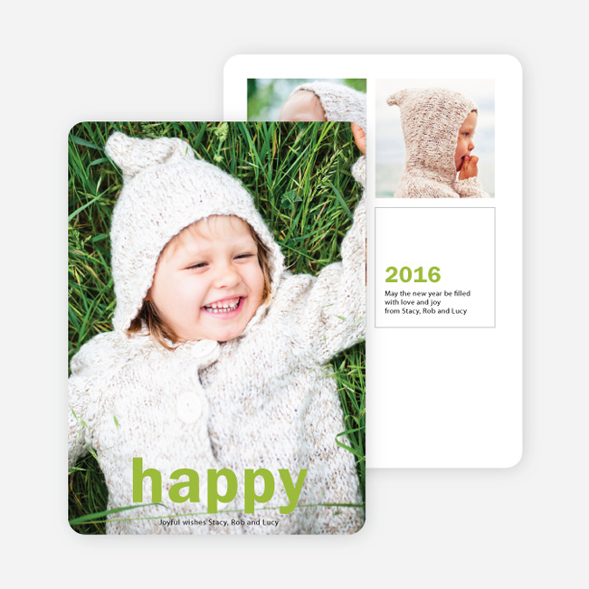 Big Statement New Year Cards - Green