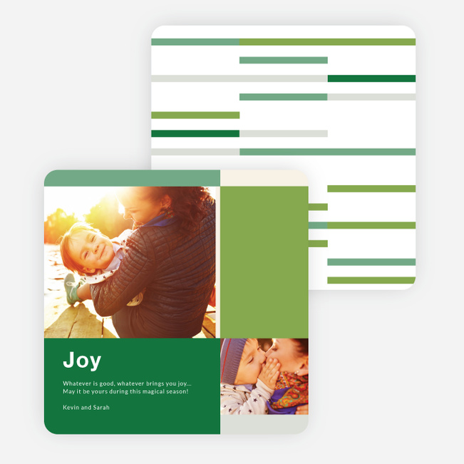 Blocks & Lines Holiday Cards - Green