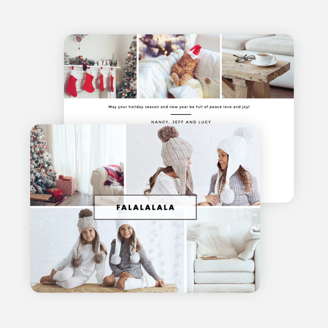 Border Collage Christmas Cards - White
