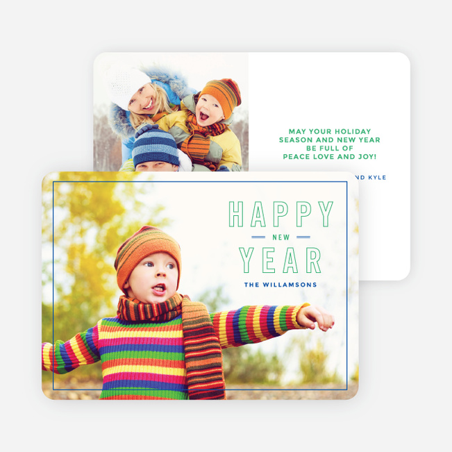 border outlines new year cards green
