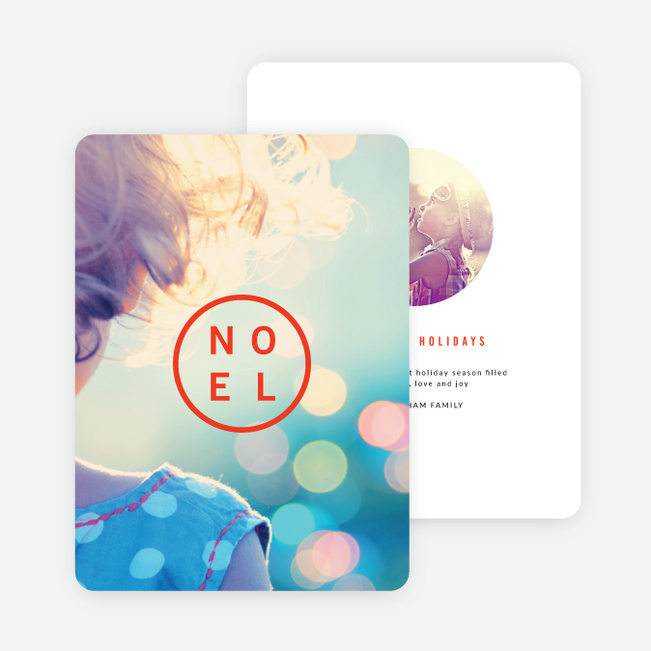 Circular Noel Christmas Cards - Red