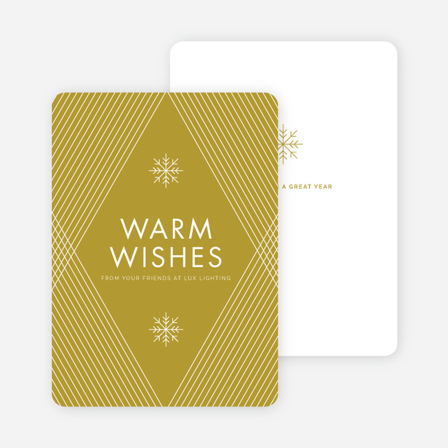 Diagonal Pattern Corporate Holiday Cards - Green