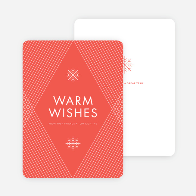 Diagonal Pattern Corporate Holiday Cards - Red