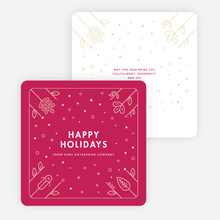 Flowers and Stars Corporate Holiday Cards - Red