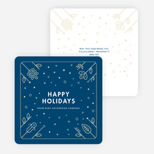 Flowers and Stars Corporate Holiday Cards - Blue