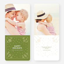 Flowers and Stars Corporate Holiday Cards - Green