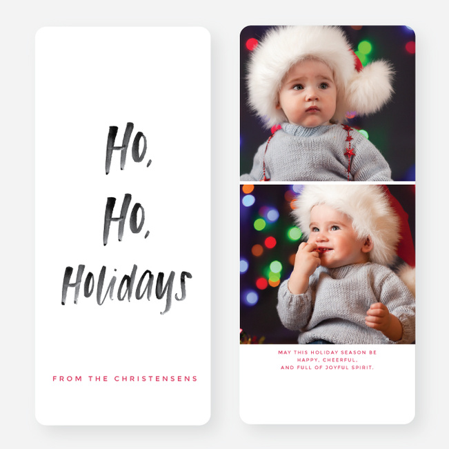 Ho Ho Script Holiday Cards - Red