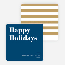 Holiday Stripes Corporate Holiday Cards - Blue