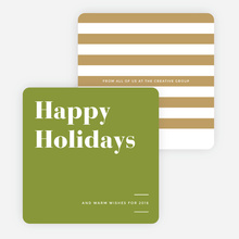 Holiday Stripes Corporate Holiday Cards - Green