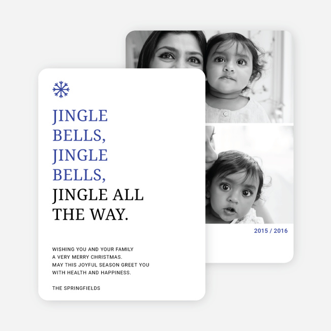 Jingle Bells Holiday Cards - Blue