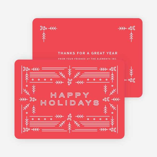Modern Holly Corporate Holiday Cards - Red