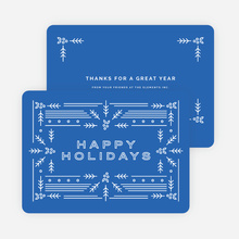 Modern Holly Corporate Holiday Cards - Blue