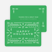 Modern Holly Corporate Holiday Cards - Green