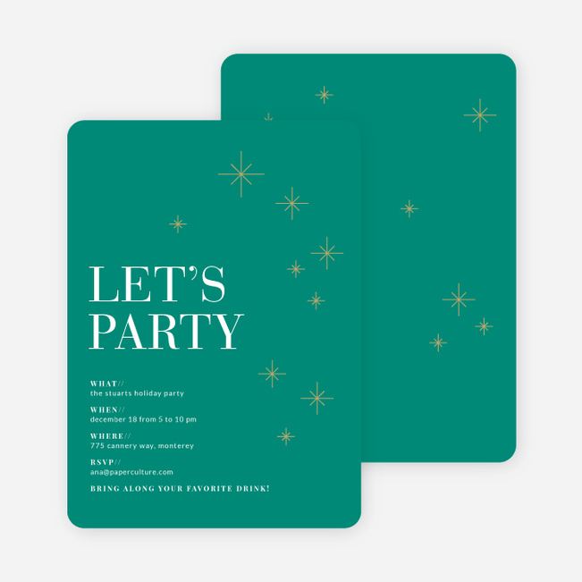 Modern Stars Holiday Party Invitations - Green