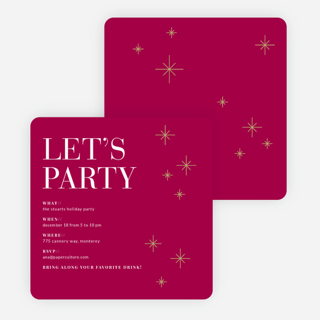 Modern Stars Holiday Party Invitations - Red
