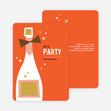 Retro Champagne Holiday Party Invitations - Red