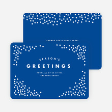 Snow Falling Corporate Holiday Cards - Blue