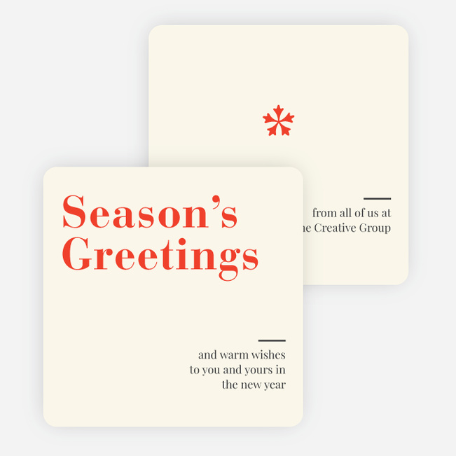 Snowflake Icon Corporate Holiday Cards - Red