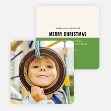 Split Color Christmas Cards - Green