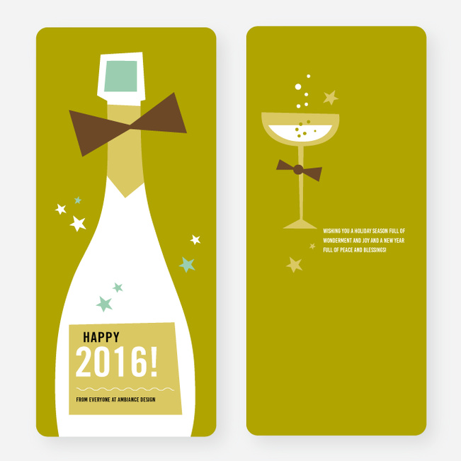Vintage Champagne New Year Cards - Green
