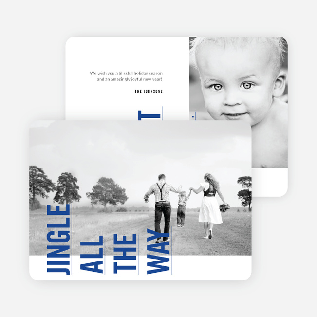 Sideways Text Christmas Cards - Blue