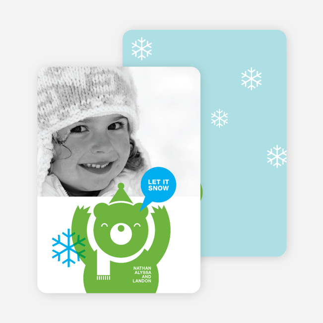 Burt the Bear Holiday Photo Card - Apple Green