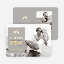 Cheers New Year's Photo Cards - Silver