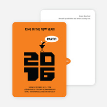 Chic New Year's Eve Party Bird Invitations - Tangerine Orange